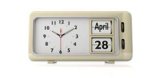 Orthodoxes Ostern-Datum am 28. April 2019 am alten Retro- Wecker, weißer Hintergrund, lokalisiert, Illustration 3d vektor abbildung