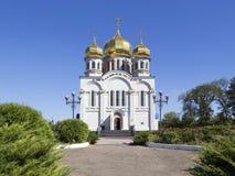 Orthodoxie-Kirchen-Tempel mit goldenen Hauben Lizenzfreies Stockbild