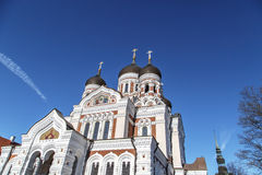 Orthodoxy Cathedral. Bottom view of Alexander Nevsky Cathedral which is the grandest orthodoxy cathedral in Tallinn Estonia, on navy blue background Royalty Free Stock Photography