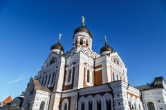 Orthodoxy Cathedral. Bottom view of Alexander Nevsky Cathedral which is the grandest orthodoxy cathedral in Tallinn Estonia, on navy blue background Stock Photography
