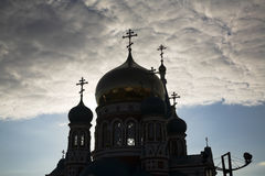 Orthodoxy church. In the downtown of Russian city Omsk Stock Image