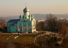 Orthodoxy church and churchyard. In Ukraine Stock Images
