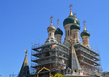 Orthodoxy church in Nice, France. Russian Orthodox church in Nice at the time of reconstruction Stock Photos