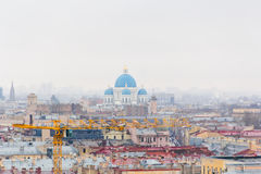 Orthodoxy church in Saint Petersburg from bird flying Stock Image