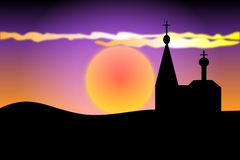 Orthodoxy kerk bij zonsondergang royalty-vrije illustratie