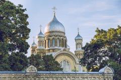 Orthodoxy kerk in Riga stock afbeelding
