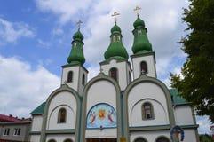 Orthodoxykyrka i Mukachevo, Ukraina på Augusti 14, 2016 arkivfoto