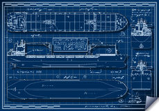 Orthogonal Blue Print of a Cargo Ship Royalty Free Stock Photography