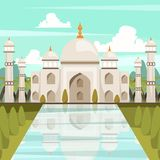 Orthogonal Samenstelling van Taj Mahal Mausoleum In India royalty-vrije illustratie