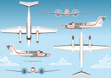 Orthogonal Views of a Flying Airplane Stock Photo