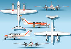Orthogonal Views of a Landed Airplane Royalty Free Stock Photo