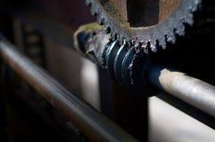Orthogonal Worm gear reducer. Old steel Mechanical Engineering p. The Orthogonal Worm gear reducer. Old steel Mechanical Engineering parts Stock Photos