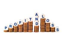 Orthographe de matrices de profits et pertes sur des penny images libres de droits
