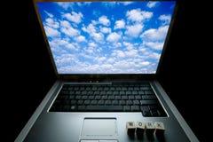 Orthographe «travail» d'ordinateur portable et de matrices Photos stock