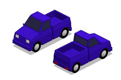 Orthographic blue truck. In isolated white background Royalty Free Stock Photos