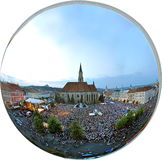 Orthographic panorama projection of a crowded square Royalty Free Stock Image