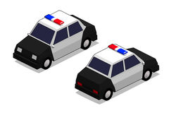 Orthographic police car. In isolated white background Stock Photos