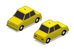 Orthographic yellow cab. In isolated white background Stock Photos