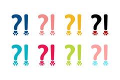 Orthographiezeichensatz Fragezeichen und Ausrufezeichen in der Tierart lizenzfreie abbildung