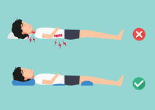 Orthopädische Kissen, für einen bequemen Schlaf und eine gesunde Lage stock abbildung