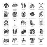 Orthopédie, icônes de glyph de réadaptation de traumatisme Béquilles, oreiller de matelas, collier cervical, marcheurs, marchandi illustration libre de droits