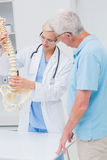 Orthopedic doctor and senior patient discussing over anatomical spine Royalty Free Stock Photography