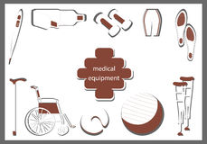 Orthopedic equipment in the form of red and white silhouettes. Orthopedic equipment. Products in the form of red and white silhouettes Stock Photos