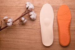 Cotton branch and orthopedic insoles on a wooden table. Orthopedic insoles close-up. insoles with cotton. composition of insoles. natural cotton. cotton flower stock photo