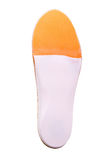 Orthopedic insoles on white background. Orthotics on a white background. Insert in shoes to support the foot stock image