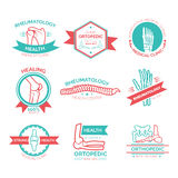 Orthopedic medical and diagnostic clinic symbol. Orthopedic and rheumatology medicine symbol. Emblem, stamp and badge with bones of hand, foot, spine, knee Royalty Free Stock Photo