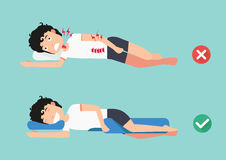 Orthopedic pillows,for a comfortable sleep and a healthy posture. Best and worst positions for sleeping, illustration, vector Royalty Free Stock Photos