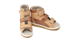 Orthopedic shoes for children. Children's orthopedic sandals for figure correction and feet stock photos