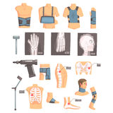 Orthopedic Surgery And Orthopaedics Attributes And Tools Set Of Cartoon Icons With Bandages, X-rays And Other Medical Royalty Free Stock Image