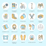 Orthopedic, trauma rehabilitation line icons. Crutches, orthopedics mattress pillow, cervical collar, walkers and other. Medical rehab goods. Health care thin Royalty Free Stock Images