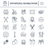 Orthopedic, trauma rehabilitation line icons. Crutches, orthopedics mattress pillow, cervical collar, walkers and other Stock Photo