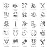Orthopedic, trauma rehabilitation line icons. Crutches, orthopedics mattress pillow, cervical collar, walkers and other Stock Image