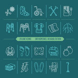 Orthopedic, trauma rehabilitation line icons. Crutches, orthopedics mattress pillow, cervical collar, walkers and other. Medical rehab goods. Health care thin Stock Photography