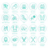 Orthopedic, trauma rehabilitation line icons. Crutches, orthopedics mattress pillow, cervical collar, walkers and other. Medical rehab goods. Health care thin Stock Photo