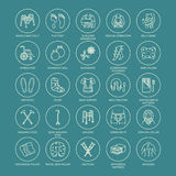 Orthopedic, trauma rehabilitation line icons. Crutches, orthopedics mattress pillow, cervical collar, walkers and other. Medical rehab goods. Health care thin Royalty Free Stock Photos
