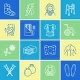 Orthopedic, trauma rehabilitation line icons. Crutches, orthopedics mattress pillow, cervical collar, walkers and other. Medical rehab goods. Health care thin Stock Photos