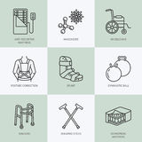 Orthopedic, trauma rehabilitation line icons. Crutches, orthopedics mattress, posture correction, walkers and other medical rehab goods. Health care thin Royalty Free Stock Photo
