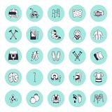 Orthopedic, trauma rehabilitation vector line icons. Crutches, mattress pillow, cervical collar, walkers, ergonomic stock illustration