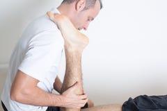Orthopedic treatment. Rehabilitation with orthopedic treatment on leg Stock Photo