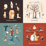 Orthopedics 2x2 Design Concept. With information about backbone diseases  prosthesis set and preventive measures flat vector illustration Royalty Free Stock Image