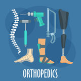 Orthopedics and prosthetics icon for clinic design. Orthopedics and prosthetics medicine symbol for orthopaedic clinic design usage with bones of vertebral Royalty Free Stock Photo