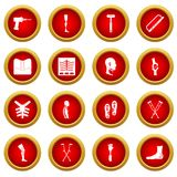 Orthopedics prosthetics icon red circle set Royalty Free Stock Photos