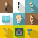 Orthopedics prosthetics icon set, flat style Stock Photos