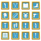 Orthopedics prosthetics icons azure Stock Photos