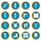 Orthopedics prosthetics icons blue circle set Royalty Free Stock Photo