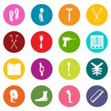 Orthopedics prosthetics icons many colors set Royalty Free Stock Photos